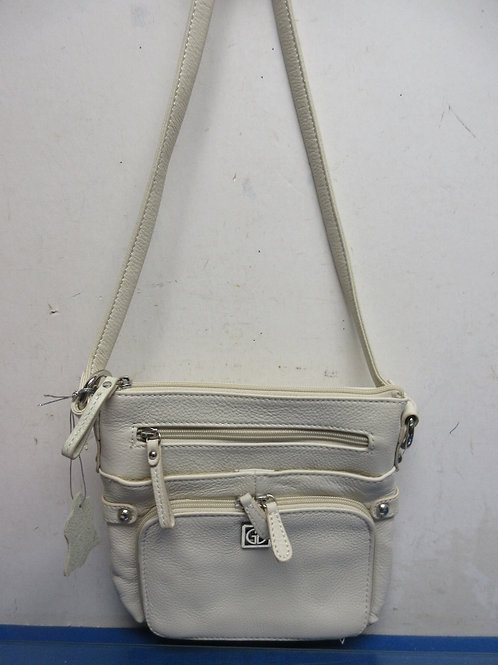 Giani Bernini small ivory leather crossbody style purse w/multi compartments