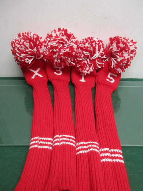 Set of 4 red handmade golf club covers