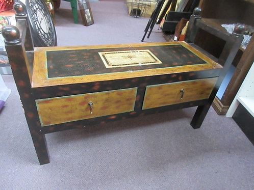 """Wood bench with 2 bottom drawers and 2 end rails, 14x38x26"""" high"""