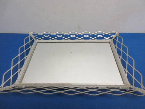 """Vintage mirrored tray with ornate edging, 10x14"""""""