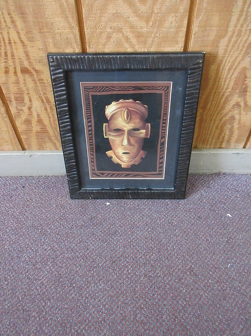 African mask wall art, dark mat and carved wood frame 12x14""