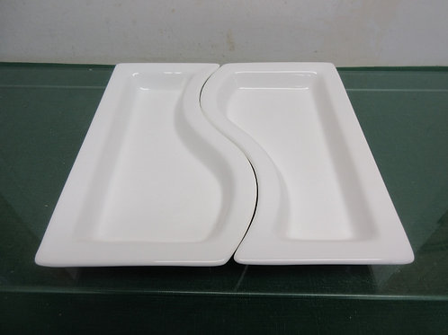 White 2 pc interlocking serving plates