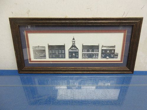 Reed handmade framed pewter of a 5 building town 6x13""