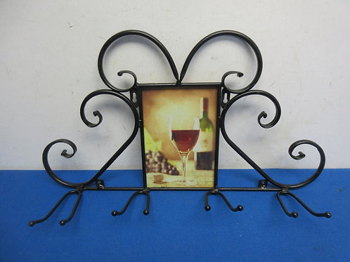 Black metal hanging stemmed wine glass - holder w/wine picture in middle