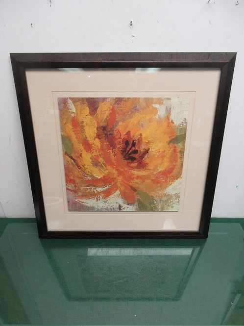 Large yellow flower print with ivory mat and black frame, 19x19""