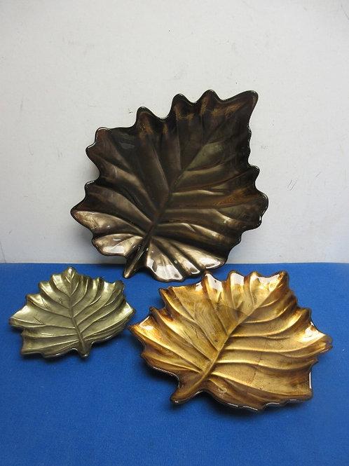 "Set of 3 decorative leaf plates, 8"" ,12"", 15"" long"