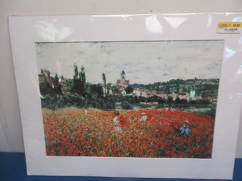 """Monet print """"poppy field"""" with white mat & plasticcovering 18x24  - No frame"""