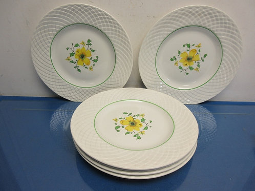Set of 6 dinner plates, white with yellow floral design