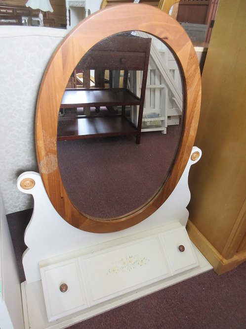 Oval mirror with white storage flip-top base, place on top of dresser