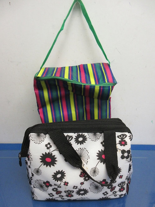 Pair of insulated lunch bags, thermos black and white floral, and multi colored