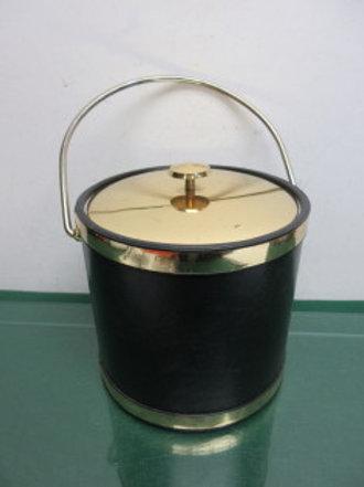 "Black & gold ice bucket 11"" high"