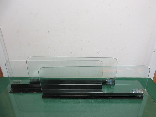 """Set of 3 floating glass wall shelves with hardware, each 18""""long x 6""""deep"""