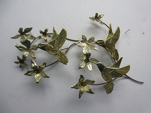 Gold metal welded branch with hummingbirds