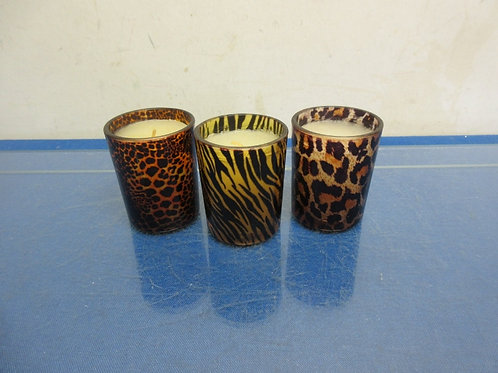 Animal theme set of 3 votive glass candle holders