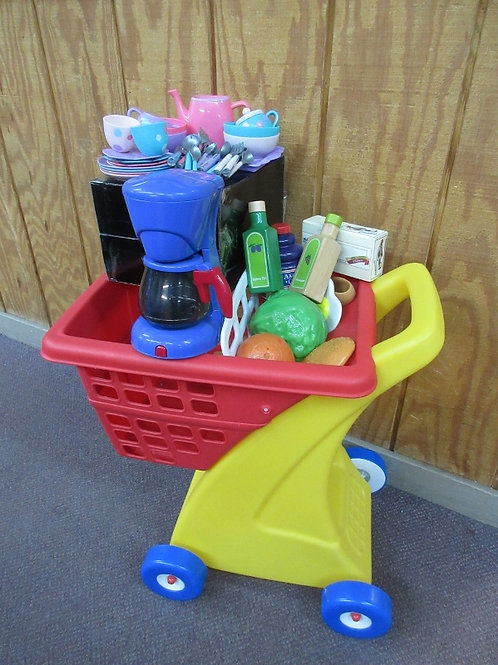Little Tikes red and yellow shopping cart w/kitchen food & accessories
