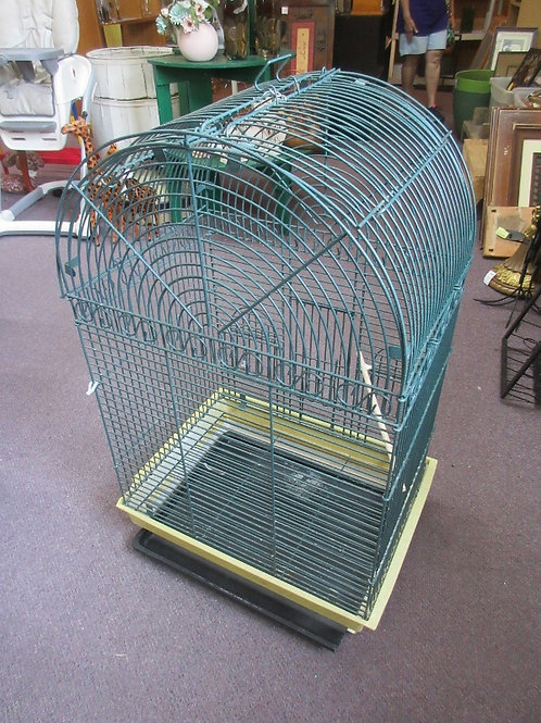 "Large green metal bird cage w/arched top, 22x16x36""high"