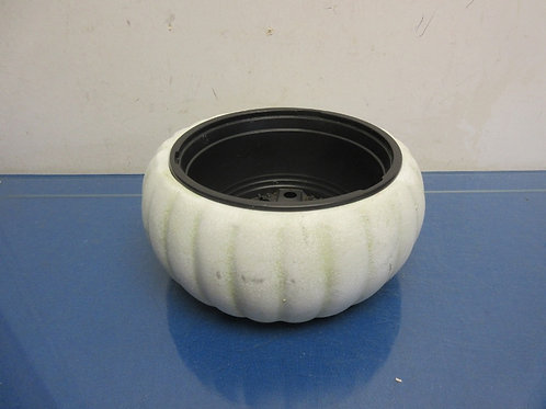 "White round ceramic planter with drainage insert - 8"" dia. X 4"" deep"