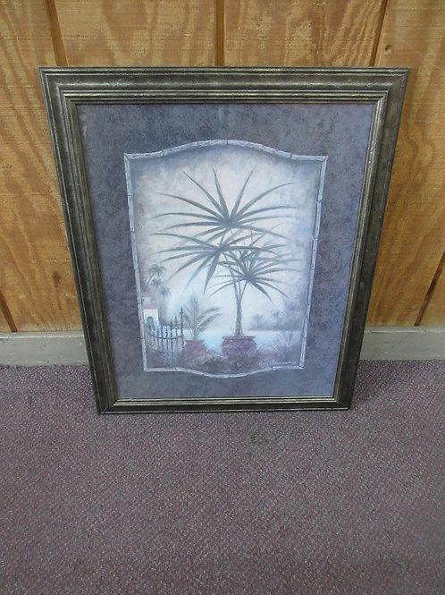 "Palm tree print, blue mat, silver frame, 19x23"""