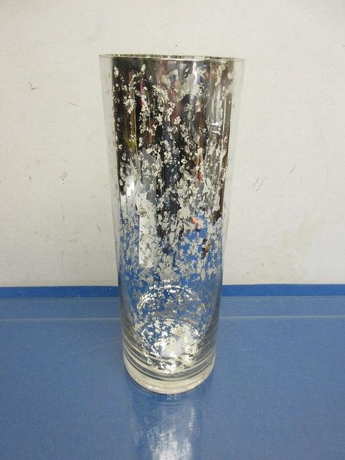 Gold crackled cylinder glass vase