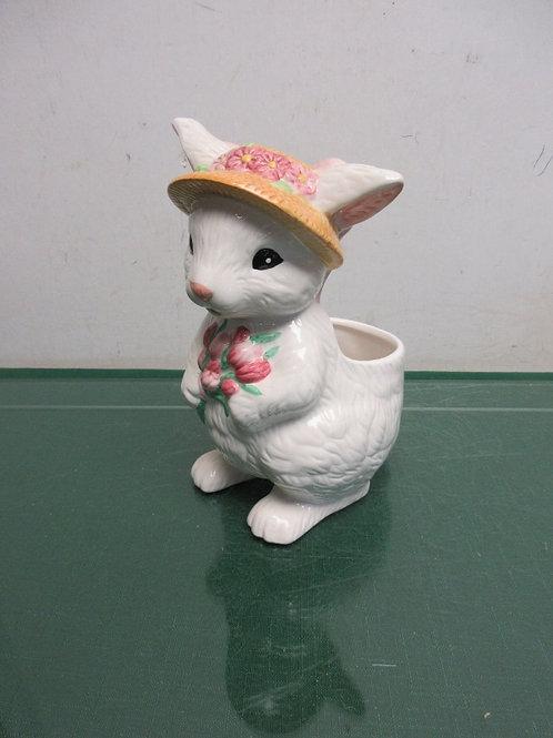 "Ceramic rabbit  planter 7""high"