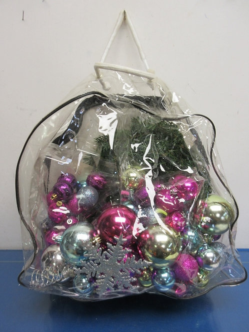 Bag of multi colored ornaments and small evergreen wreath - 12""