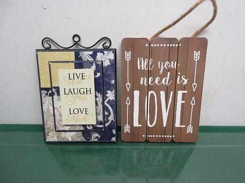 "Set of 2 small wood wall plaques, each 7x9""-""live, laugh & love"" & ""all you need"