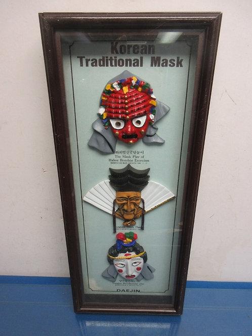 Shadow box with dimensional traditional Korean masks