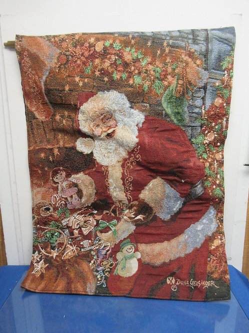 Light up santa tapestry style wall hanging with hanging bar