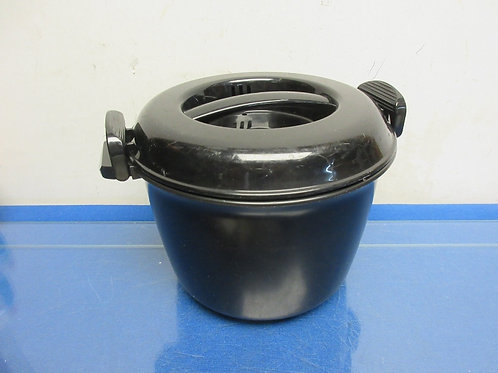 Black Pampered Chef microwave pot with snap shut lid