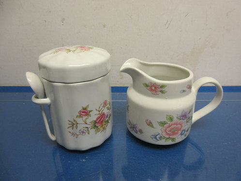 Large white creamer and sugar container-floral design