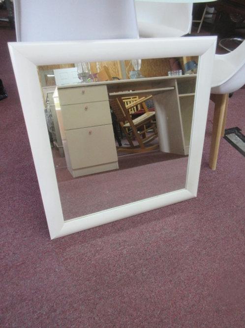 """White framed mirror, 28x28"""""""