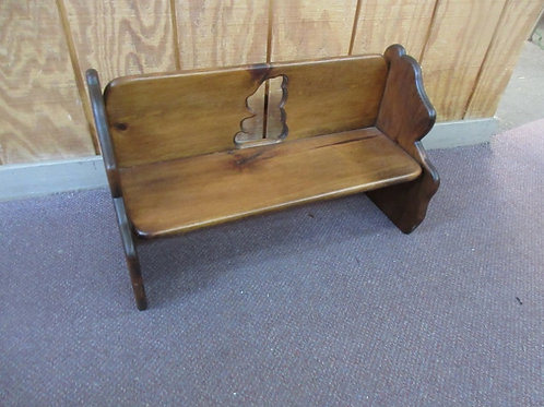 """Child size stained pine bench with bear cut out on the back, 10x24x14"""" high"""