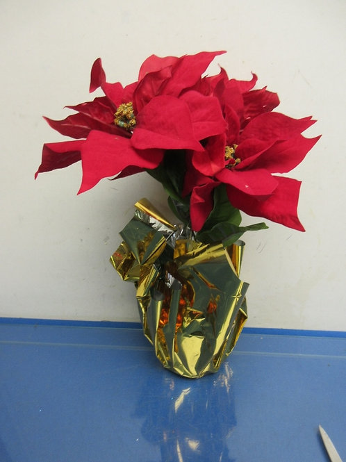 Artifical Pointsettia plant with foil wrap, 2 available