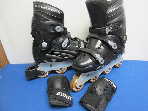 Pair of black mongoose in line skates, size 11 & pair of elbow pads