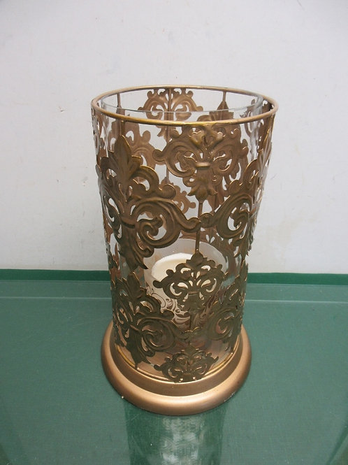 """Large gold cylinder candle holder with glass insert 6""""dia x 12""""high"""