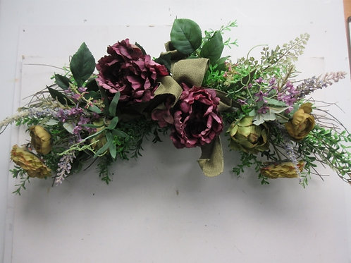 """Artifical floral curved swag, flowers on a twig base, 34"""" long"""