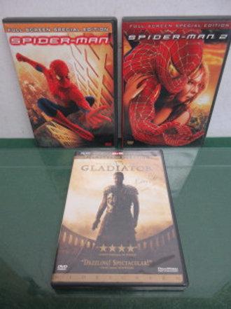 Set of 3 Action DVD's, Spiderman, Spiderman 2, & Gladiator