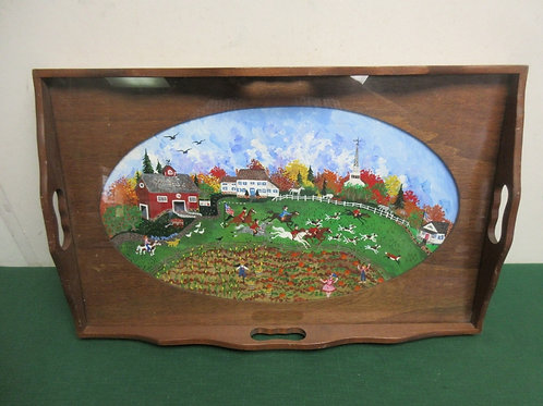 """Wood  serving tray with handles & county scene under glass, 12x19"""""""