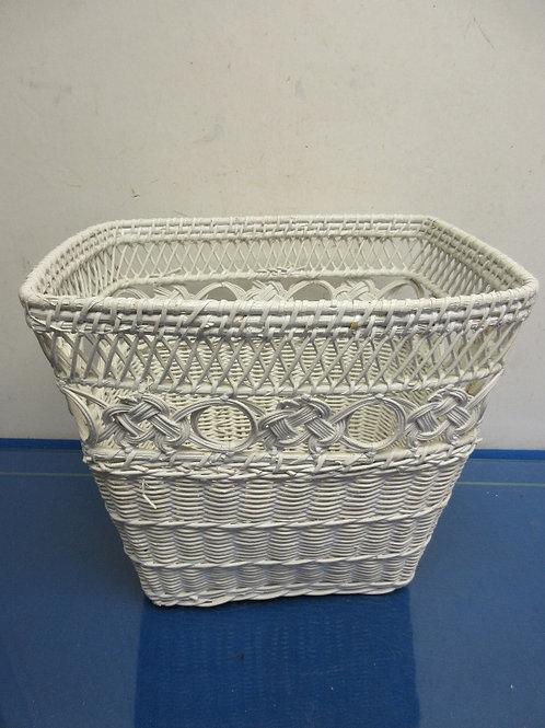 White wicker small waste basket