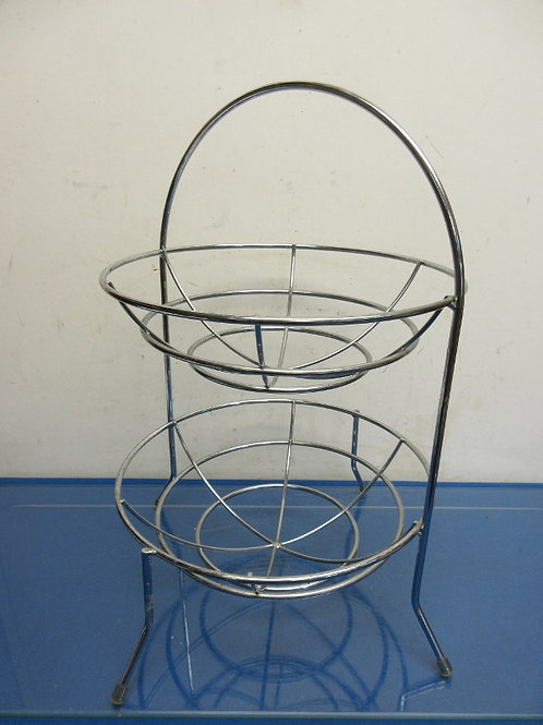 "Chrome 2 tier table top fruit basket 20"" high"