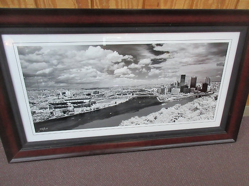 Large black & white photo of The Point, shot from Ohio river angle - Cherry fram