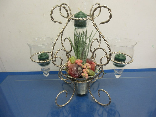 Twisted metal centerpiece with 3 glass candle holders & fruit in the middle