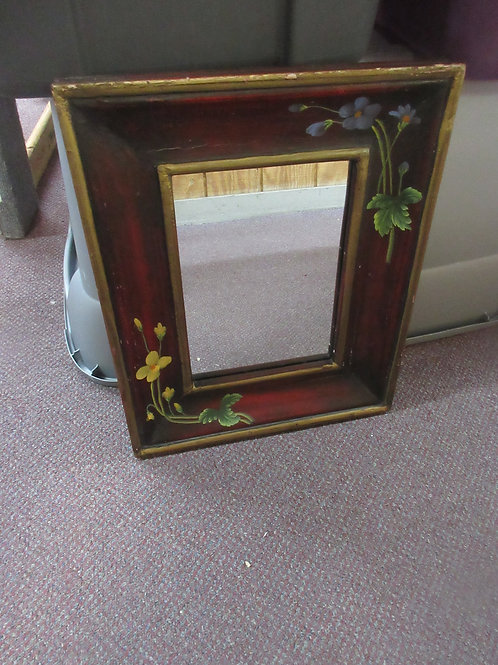 Decorative wide wood framed mirror with hand painted flowers on frame  14x15