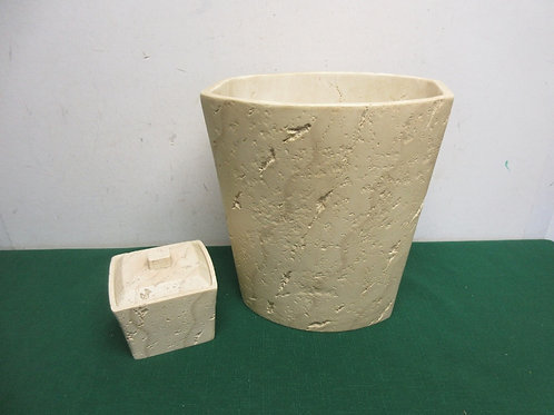Faux stone waste basket and container with lid