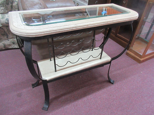 Metal & faux stone bar with beveled glass top