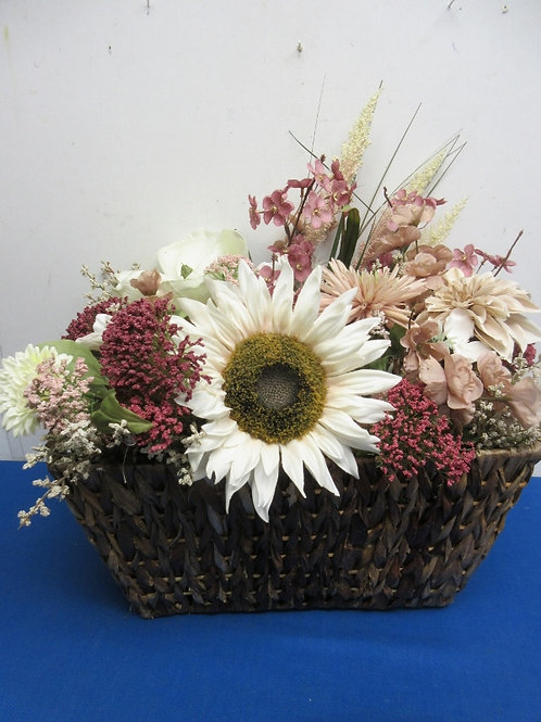 """Large artifical floral arrangement in large woven basket 9x15x12""""high"""