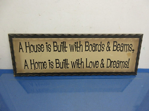 "Wall plaque saying ""A house is built..."" - 8x23"