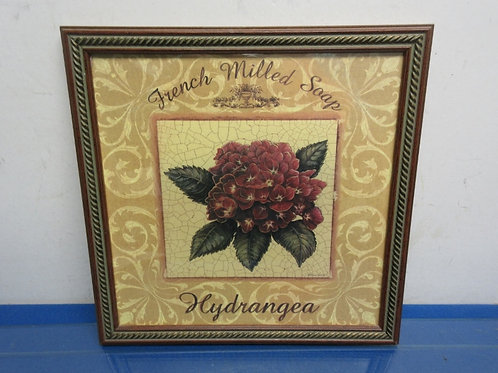 French milled soap Hydrangea floral print, wood frame 13x13""