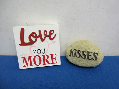 """Rock with """"Kisses"""" engraved and small square sign """"Love you More"""""""