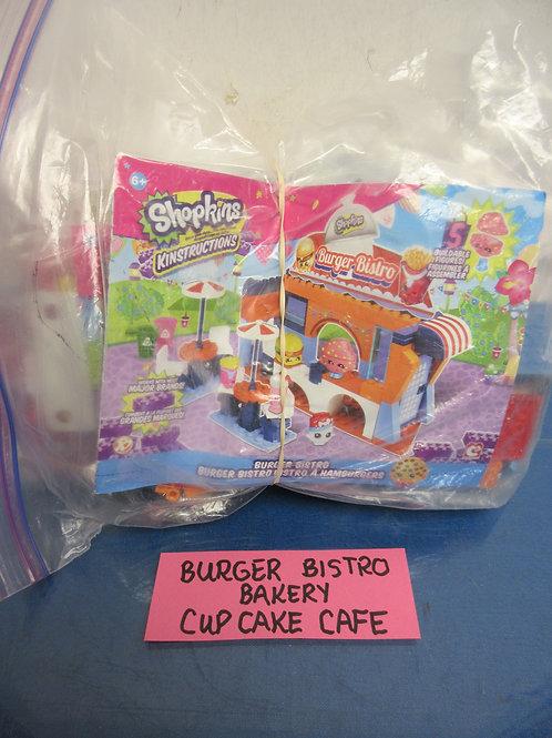 Shopkins Kinstructions set of 3-burger bistro bakery, cupcake cafe,w/instruction